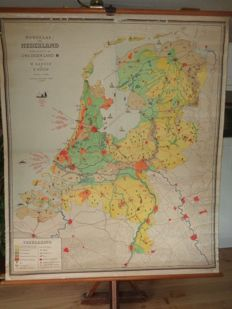 Old large school map of the Netherlands, part of our own country by Baker and Rusch, third edition.