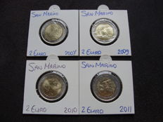San Marino - 2 Euro coins 2007/2011 Commemorative coins (4 pieces)
