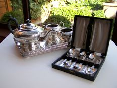 English Silver Plated Tea Set Art Nouveau Pattern, Tray, Cased 6 x Teaspoons and Sugar Tongs