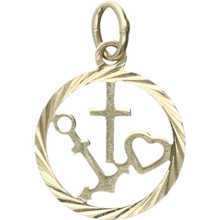 14 Kt Yellow Gold Pendant In The Shape Of The Symbols For Faith
