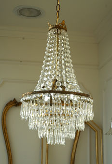 Empire style 3-light brass chandelier with crystal glass pendants - 1940s