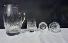 Lot of 4 chiselled and cut crystal items - Saint Louis - France - c. 1908
