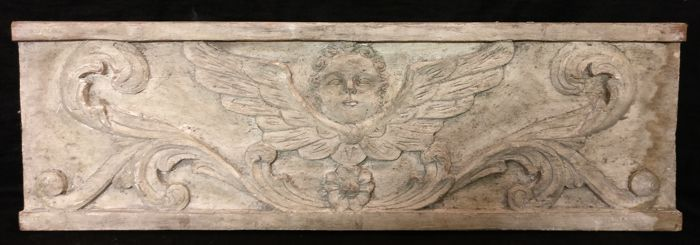 Fruitwood panel with winged putto - Venetian overdoor - Venice, Italy - 19th century
