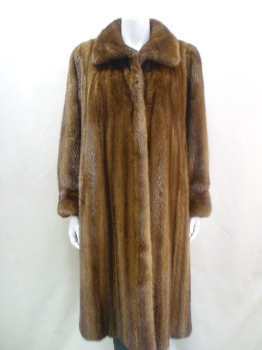 Quality mink coat demi-buff brown, mink fur coat - Catawiki