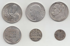Poland – 1840/1987, 6 different coins – silver
