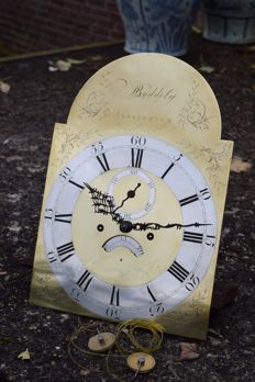 Lovely antique English clock - 18th century - Bronze engraved dial - signed