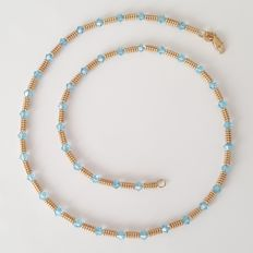 Necklace in 18 kt gold with Swarovski crystals - Length: 43.5 cm
