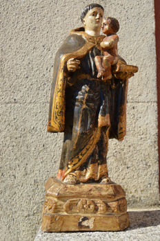 Saint (Santo António) holding the child Jesus in carved wood - 18th century, child with glass eyes - fully original