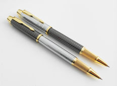 Parker: 2x luxury Sonnet rollerball pen: chrome-steel high gloss and anthracite with gold plated accents, with Parker gift box (040-1)