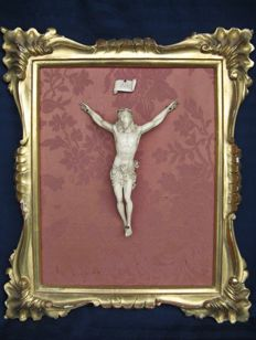 Antique ivory Christ with elaborate gold leaf frame -France - mid-19th century