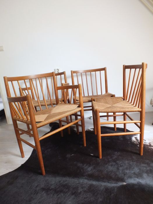 Jorgen baekmark for fdm mobler four dining room chairs for Dining room furniture auctions