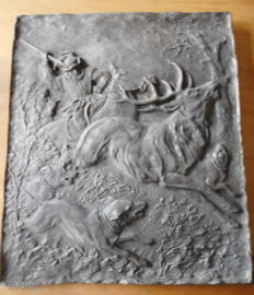 Plaque medieval hunting scene - H. Kahle and ??? (difficult to read)