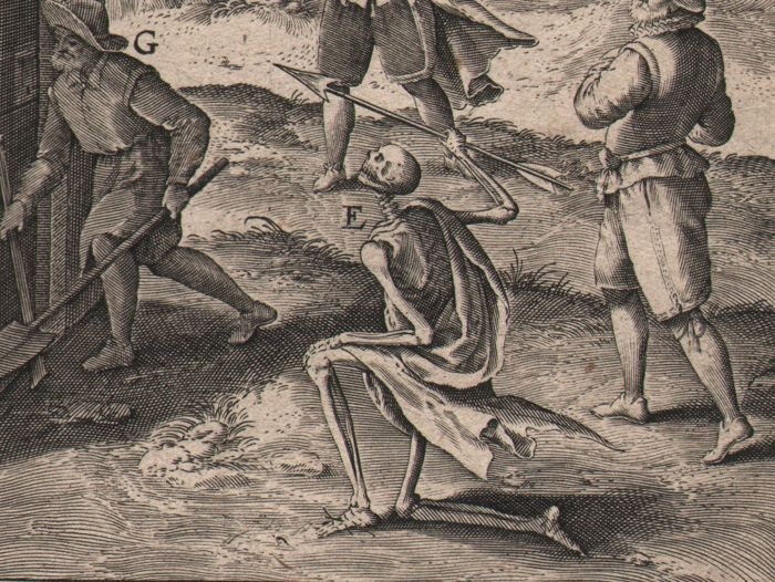 Theodoor Galle (1571-1633) - Death as a skeleton attacking man + Conversion - 1603