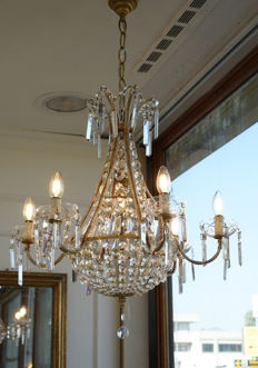 Empire 7-light balloon chandelier with original crystals - Maria Theresa style, Italy, first half of the 20th century