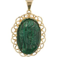 14 kt - Yellow gold pendant/brooch set with a carved malachite in the shape of a woman - Length x Width: 43 mm x 27 mm