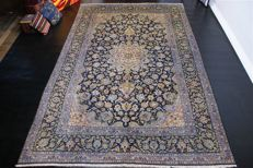 Hand-knotted original Persian carpet, oriental Kashan, approx. 365 x 240 cm, good condition, Iran