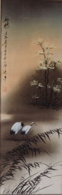 Large original print on parchment, decorated with paintwork - signed - Japan - Beginning of 20th century