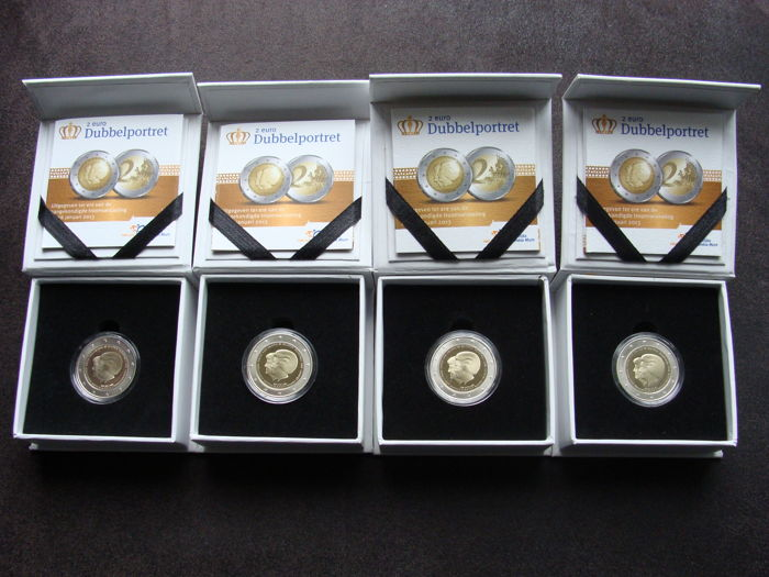 The Netherlands - 2 Euro 2013 'Dubbelportret' in case (4 copies)