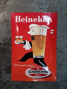 Enamel sign for Heineken Beer.