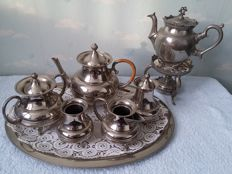 silver plated tableware with serving tray and tea pot with brazier, the Netherlands 1960