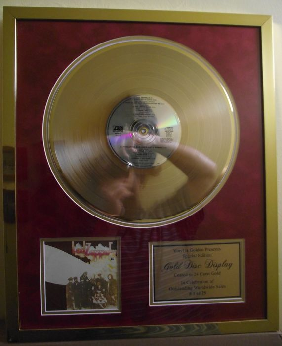 Led Zeppelin, 'Led Zeppelin 2' 24 carat gold plated LP/ CD Award.
