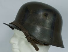 German Helmet Model 1917 with Mimetic Camouflage in Squares in Three Shades WW1 Size 66