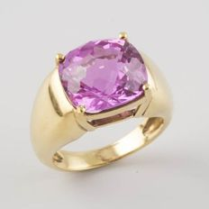 18 kt yellow gold ring with one pink quartz of 6 ct - size 17.2 mm, 14/54 (EU)