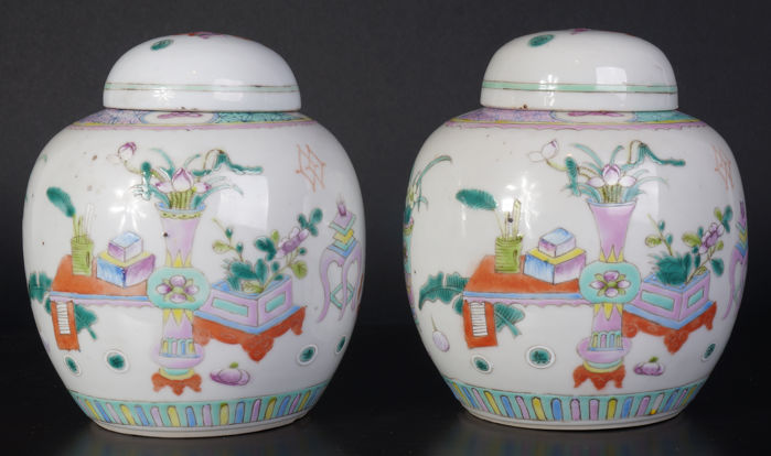 Set Of Antique Chinese Porcelain Famille Rose Vases With Lids