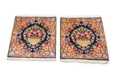 A pair of handwoven Persian carpets - Kerman - each approx. 51 x 48 cm - Iran