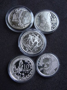 San Marino, the Netherlands and Belgium - 5 and 10 Euro coins 2002/2005 (5 different coins) - silver