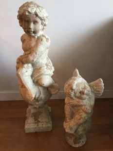 Two terracotta angels 80 cm high, Netherlands, second half 20th century