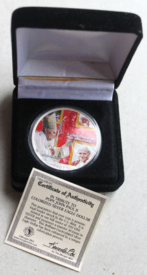 United States - Dollar 2005 Silver Eagle 'Pope John Paul II' with colour - silver