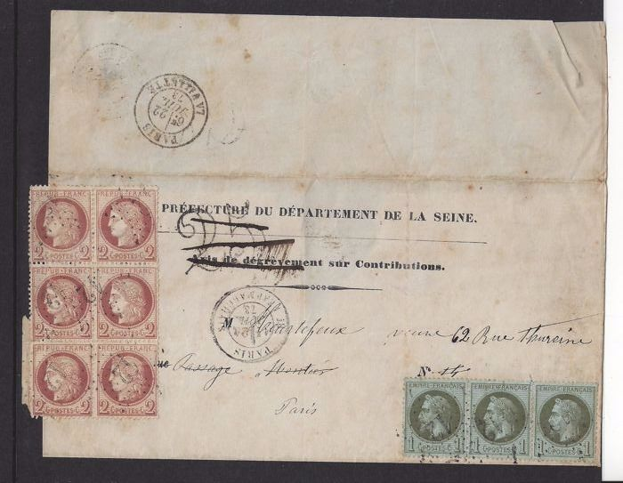 France 1873 - Emission Siege and Ceres dentele - Letter to Paris with Yvert 51, bloc or six and Yvert 25, comic or 3.
