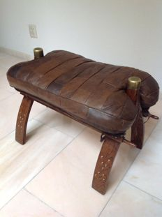 Camel saddle, bench, stool with leather seat