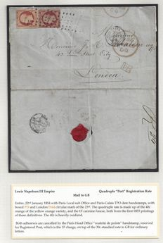 "France 1857 - Emission Louis Napoleon III Empire - Quadruple ""Postage due"" Registration Rate - Letter to London with Yvert no. 16 and 18"
