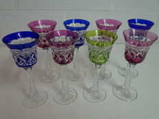 8 Val Saint Lambert crystal liqueur glasses, model L16 doublé, Belgium, 20th century