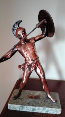Beautiful statue of the Greek Warrior Achilles with spear and shield