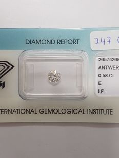 0.58 ct brilliant cut diamond E I.F