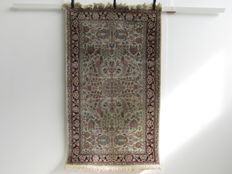Handwoven silk carpet Cashmere India • 2nd half of the 20th century, 154 x 90 cm
