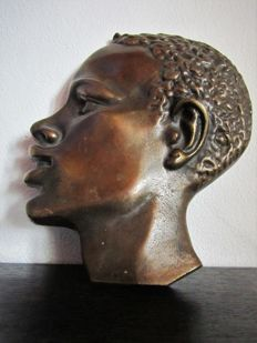African man - wall mask - bronze with old patina