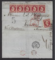 France 1857 - Emission Louis Napoleon III Empire Maritime 4F80c Rate to Mexico - Letter to Mexico with Yvert no. 17, strip of 5 and 1 single.