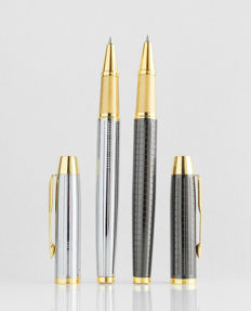 Parker: 2x luxury Sonnet rollerball pen: high gloss chrome-steel and anthracite with gold plated accents, with Parker gift box (040-4)