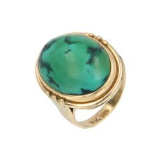 14 kt - Yellow gold vintage ring set with a cabochon cut turquoise - Ring size: 18.25 mm