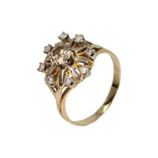 14 kt - Yellow gold rosette ring set with 9 brilliant cut diamonds of approx. 0.66 ct in total - Ring size: 17.5 mm