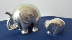 "Two cute ""Brumal"" silver plated Elephants"