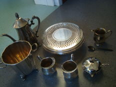 8 silver plated metal items, Christofle, Helix Frères, Toulouse, French silversmiths..., France 19th-20th century