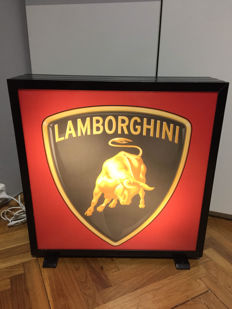 Large Vintage Lamborghini Lightbox - Illuminated advertising dealer garage service sign - ca.1997 - 50 x 50 x 13 cm