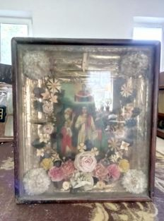 19 th century ortodox russian icon of protection of the Holy Virgin (pokrov) hand painted