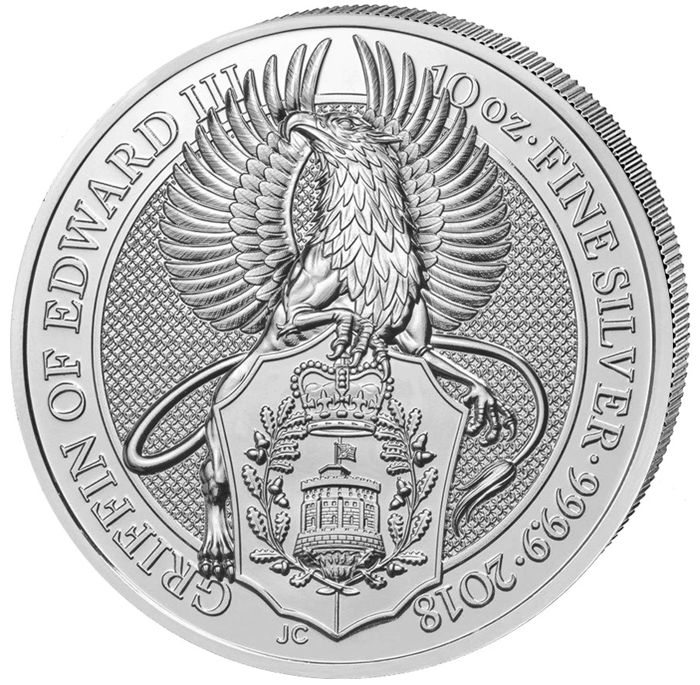 Grande Bretagne - 10 Pound 2018 'Queens Beasts Series - The Griffin' - 10 oz - Argent