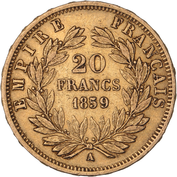 20 Francs 1859-A Napoleon III - Or